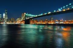 Escenas de la noche del puente de Brooklyn Imagenes de archivo