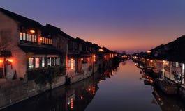 Escenas de la noche del xitang Imagen de archivo libre de regalías