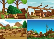 Escenas de la tala de árboles con bosque tajado ilustración del vector