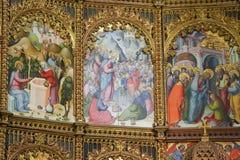 Escenas del evangelio en la catedral vieja de Salamanca Foto de archivo