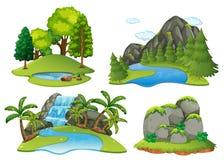 Escenas del fondo con el bosque y la cascada stock de ilustración