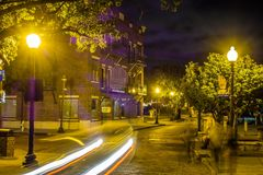 Escenas del paseo del tablero de la orilla del río en wilmington nc en la noche Fotografía de archivo libre de regalías