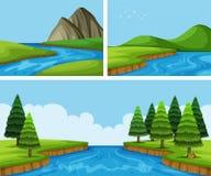 Escenas del río con los árboles de pino stock de ilustración