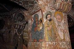 Escenas iconográficas en la iglesia de Abuna Yemata en Etiopía imagenes de archivo