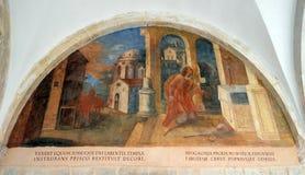 Escenas a partir de la vida de St Francis de Assisi, monasterio franciscano de los frailes de menor importancia en Dubrovnik Imágenes de archivo libres de regalías