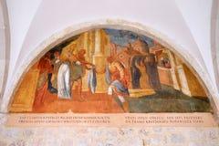 Escenas a partir de la vida de St Francis de Assisi, monasterio franciscano de los frailes de menor importancia en Dubrovnik Fotos de archivo