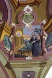 Escenas a partir de la vida del santo Ignatius de Loyola, imagen en techo de la iglesia Fotografía de archivo