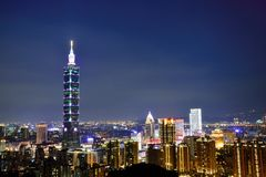 Escenas Taipei de la noche Taipei101 Fotografía de archivo libre de regalías