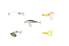Esche di pesca isolate su fondo bianco fotografie stock