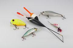 Esche di pesca su fondo bianco Fotografia Stock