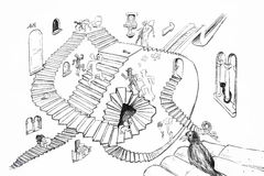Escher样式图画 库存图片
