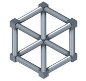 The Escher Cube isolated on a white background Royalty Free Stock Image