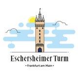 Eschersheimer Turm Frankfurt - f.m. - huvudsaklig illustration Arkivbild