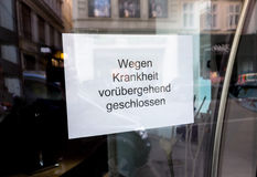 Eschäft closed due to illness Royalty Free Stock Image