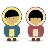 Eschimese/ragazzo & ragazza del Inuit Royalty Illustrazione gratis