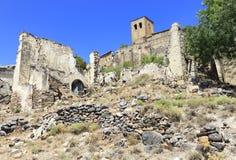 Esco, pequeña ciudad abandonada española, Aragon, España Imagen de archivo