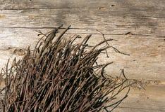 Escoba y cabaña de madera Imagen de archivo