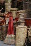 Escobas y cestas Imagen de archivo libre de regalías