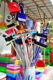 Escobas y fuentes de limpieza Foto de archivo libre de regalías