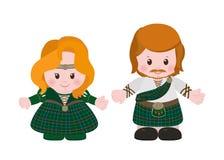 Escocés en tartán nacional del vestido stock de ilustración