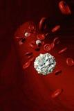 Escoja al glóbulo blanco aislado delante de los glóbulos rojos que atraviesan una arteria Fotografía de archivo libre de regalías