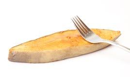 Escoja el halibut fumado con la fork Fotos de archivo libres de regalías