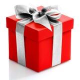 Escoja la caja de regalo roja con la cinta del oro en el fondo blanco Imagen de archivo libre de regalías
