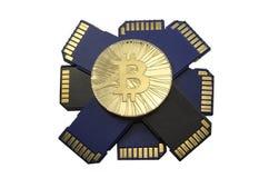 Escoja la moneda brillante de Bitcoin del oro con las tarjetas de memoria en el backg blanco Foto de archivo