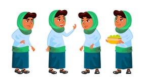 A escola árabe, muçulmana da menina, criança da menina levanta vetor ajustado Criança de escola primária Para o cartão, anúncio,  ilustração royalty free