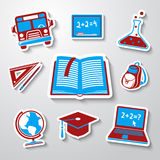 A escola, ícones da etiqueta da educação ajustou-se com - o globo Foto de Stock Royalty Free