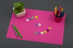 A escola ajustou-se com papel, texto & o x22 cor-de-rosa; De volta ao school& x22; de letras e de pastéis de madeira Fotografia de Stock