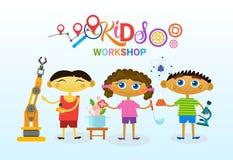 Escola artística criativa de Art Classes For Kids Logo para a bandeira das crianças Imagem de Stock
