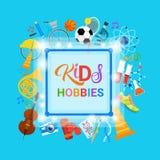 Escola artística de Art Classes Logo Workshop Creative dos passatempos das crianças para a bandeira do desenvolvimento de criança Fotografia de Stock