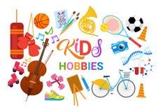 Escola artística de Art Classes Logo Workshop Creative dos passatempos das crianças para a bandeira do desenvolvimento de criança Imagem de Stock