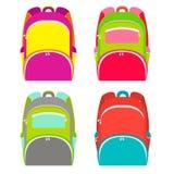 A escola backpacks a coleção isolada no branco Trouxa da escola em 4 versões diferentes Ilustração do vetor ilustração do vetor