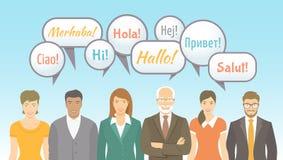 Escola da língua estrangeira para a ilustração lisa dos adultos Fotos de Stock Royalty Free