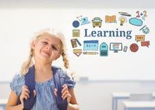 Escola da moça com saco e texto da aprendizagem com gráficos dos desenhos ilustração do vetor