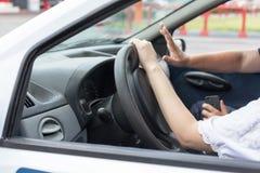 Escola de condução Aprendizagem conduzir um carro fotos de stock