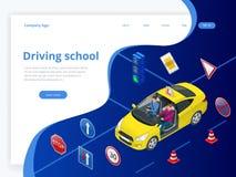 Escola de condução do conceito de projeto ou aprendizagem conduzir Ilustração isométrica lisa ilustração do vetor