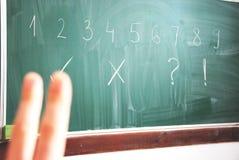 Escola: Dois dedos na sala de aula imagem de stock royalty free