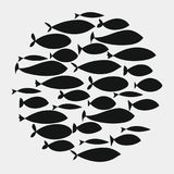 Escola dos peixes Um grupo de peixes da silhueta nada em um círculo Vida marinha Ilustração do vetor tattoo Peixes do logotipo ilustração do vetor