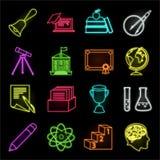 Escola e ícones de néon da educação em coleção ajustada para o projeto A faculdade, o equipamento e os acessórios vector a Web co ilustração do vetor