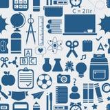Escola e ícones educacionais, fundo, e teste padrão sem emenda Imagem de Stock Royalty Free