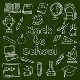 Escola e grupo da educação de ícones tirados mão sobre Fotos de Stock