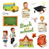 Escola e instrução grupo do ícone do vetor 3d Personagens de banda desenhada e objetos engraçados Fotografia de Stock Royalty Free