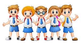 A escola feliz caçoa desenhos animados Fotos de Stock