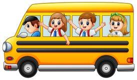 A escola feliz caçoa a montada de um ônibus escolar ilustração do vetor