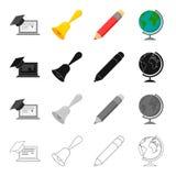 Escola, instituição educativa e o outro ícone da Web no estilo dos desenhos animados A geografia, desenho, objeta ícones na coleç Foto de Stock Royalty Free