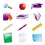 A escola objeta ícones Fotografia de Stock Royalty Free