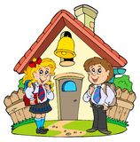 Escola pequena com os miúdos nos uniformes Fotos de Stock
